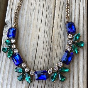 J Crew Chunky Blue Green & Clear Crystal Necklace!